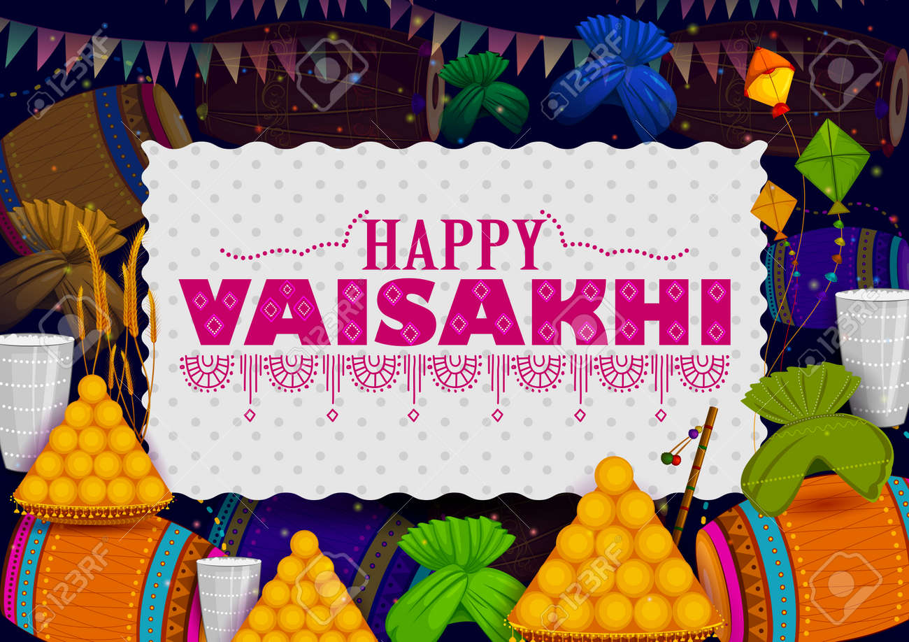 Happy Vaisakhi Punjabi Religious Holiday Background For New Year     Happy Vaisakhi Punjabi religious holiday background for New Year festival  of Punjab India in vector Stock
