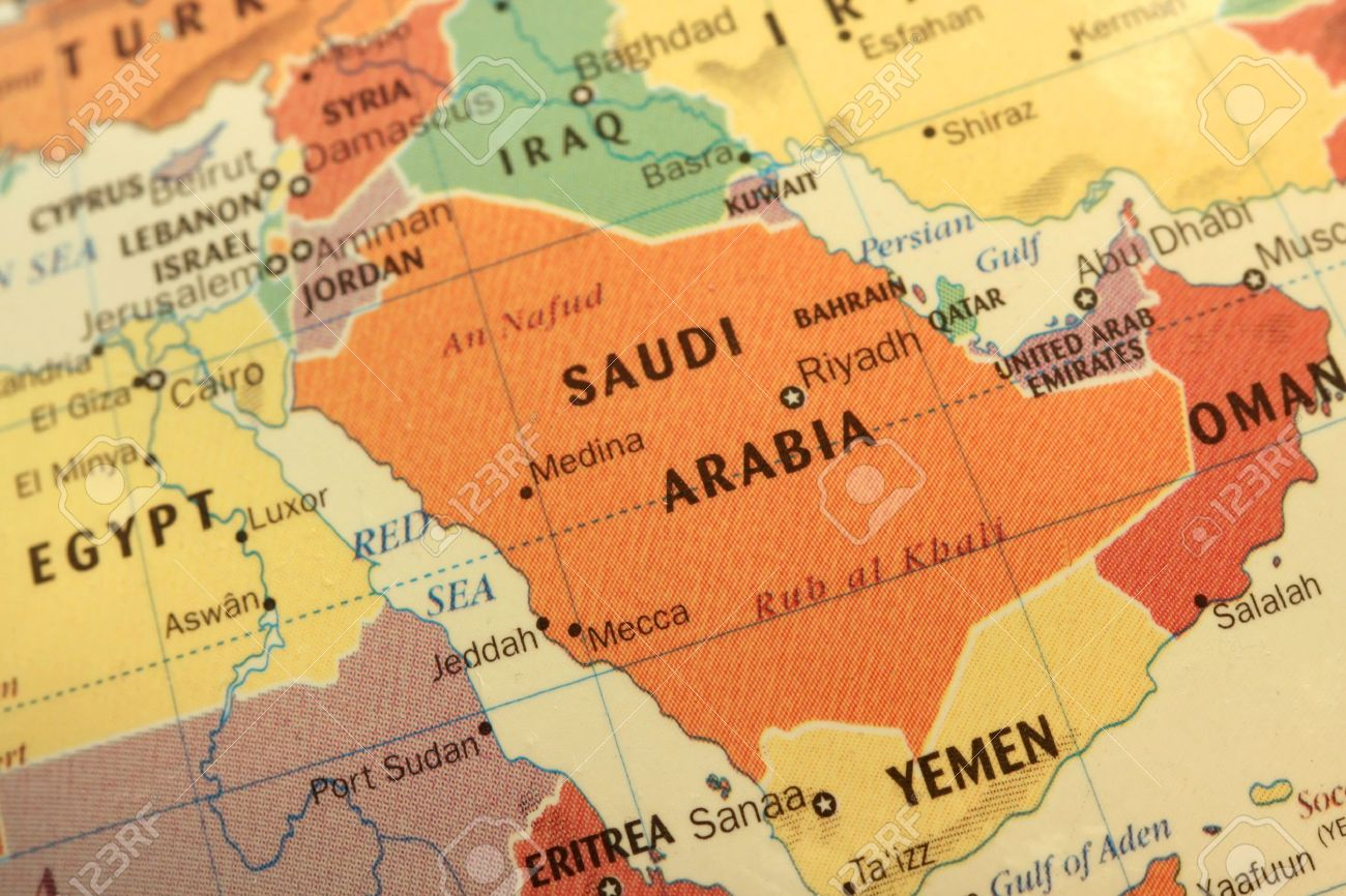 Map Of Saudi Arabia And Gulf Countries On Globe Stock Photo  Picture     Map of Saudi Arabia and Gulf countries on globe Stock Photo   8725350
