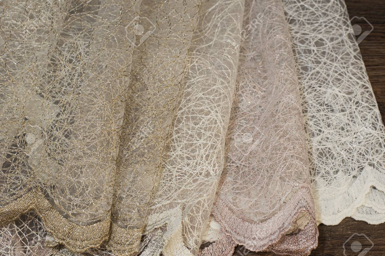 close up of beautiful tulle sheer curtains fabric sample texture