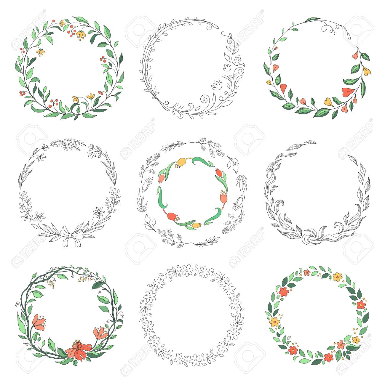Floral Circle Doodle Frames Hand Drawn Linear Round Borders Royalty Free Cliparts Vectors And Stock Illustration Image 122318280