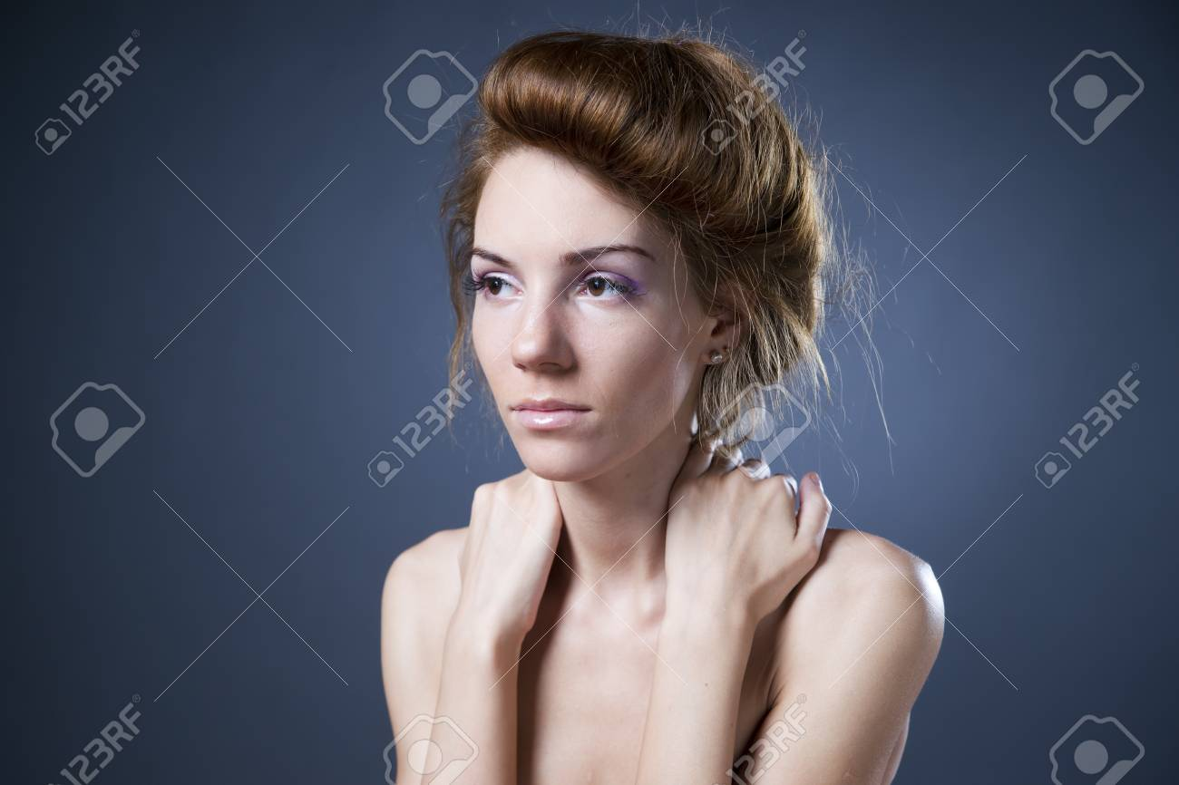 Stock Photo Young Naked Girl In Studio