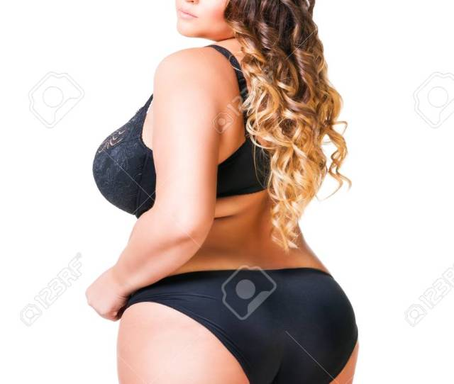 Plus Size Sexy Model In Black Underwear Fat Woman Isolated On