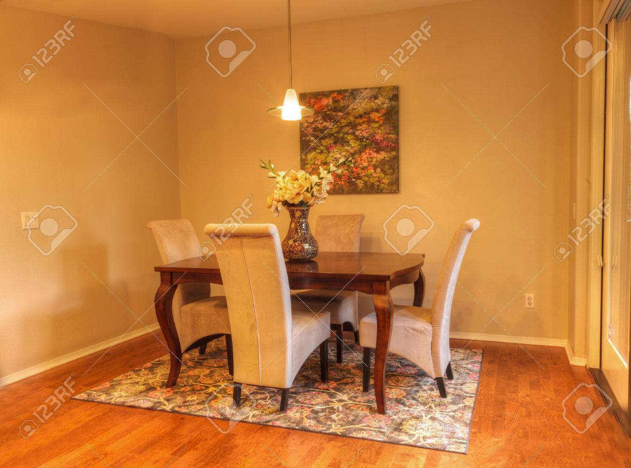 Small Dining Room With Recessed Lighting Wood Floors And Feng