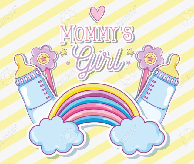 Mommys Girl Card With Cute Cartoon Vector Illustration Graphic Design Stock Vector