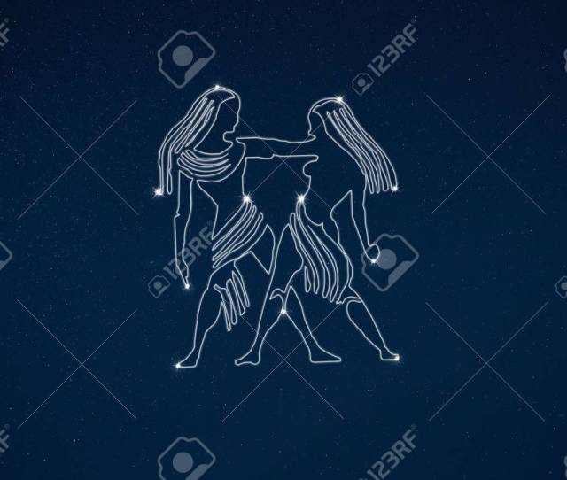 Horoscope Zodiac Sign Gemini In Dark Sky With Stars Stock Photo
