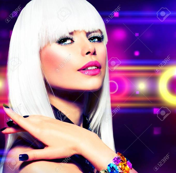 fashion disco party girl portrait purple makeup and white hair