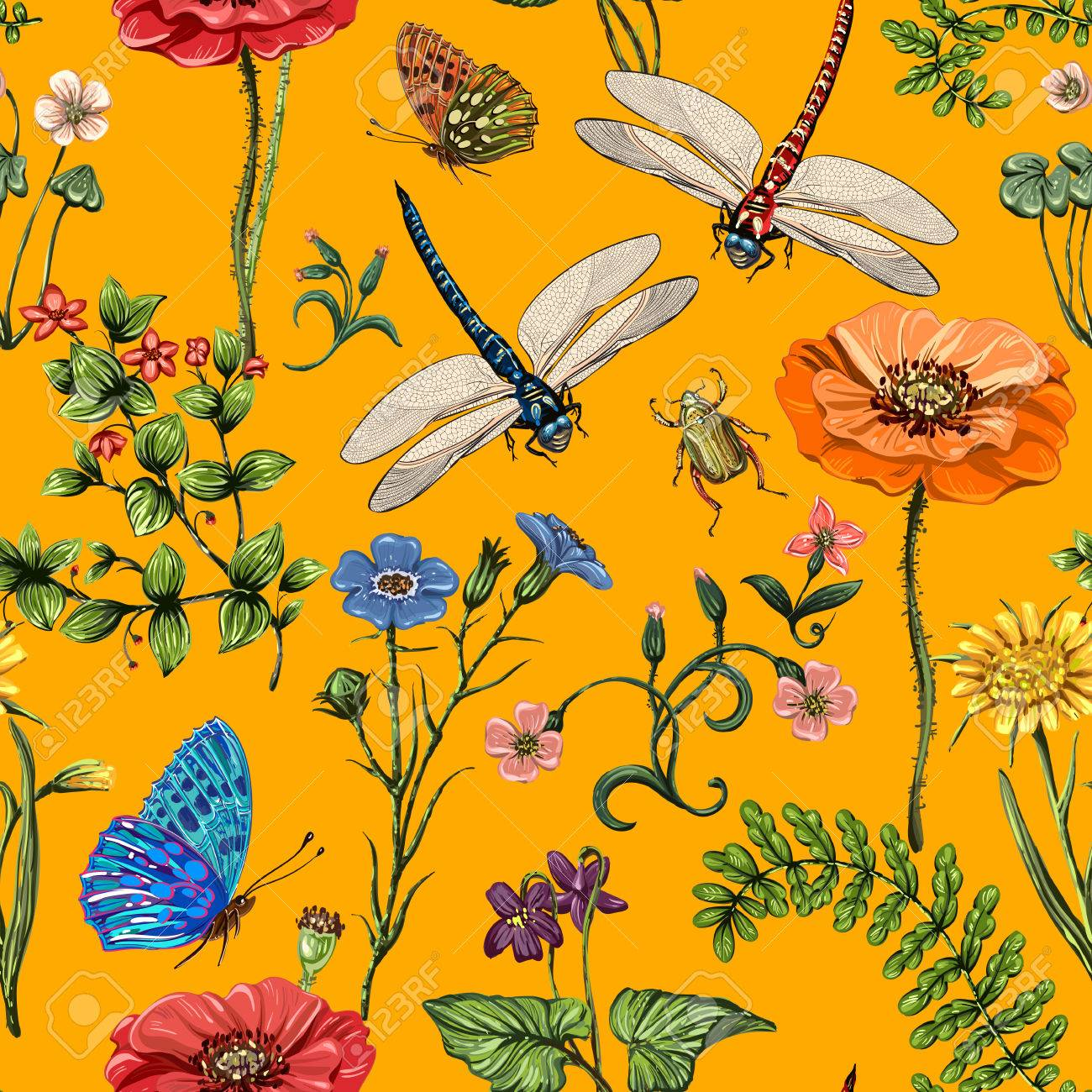 vert modele sans vecteur fond d ecran botanique plantes insectes fleurs en style vintage papillons libellules coleopteres et plantes au style