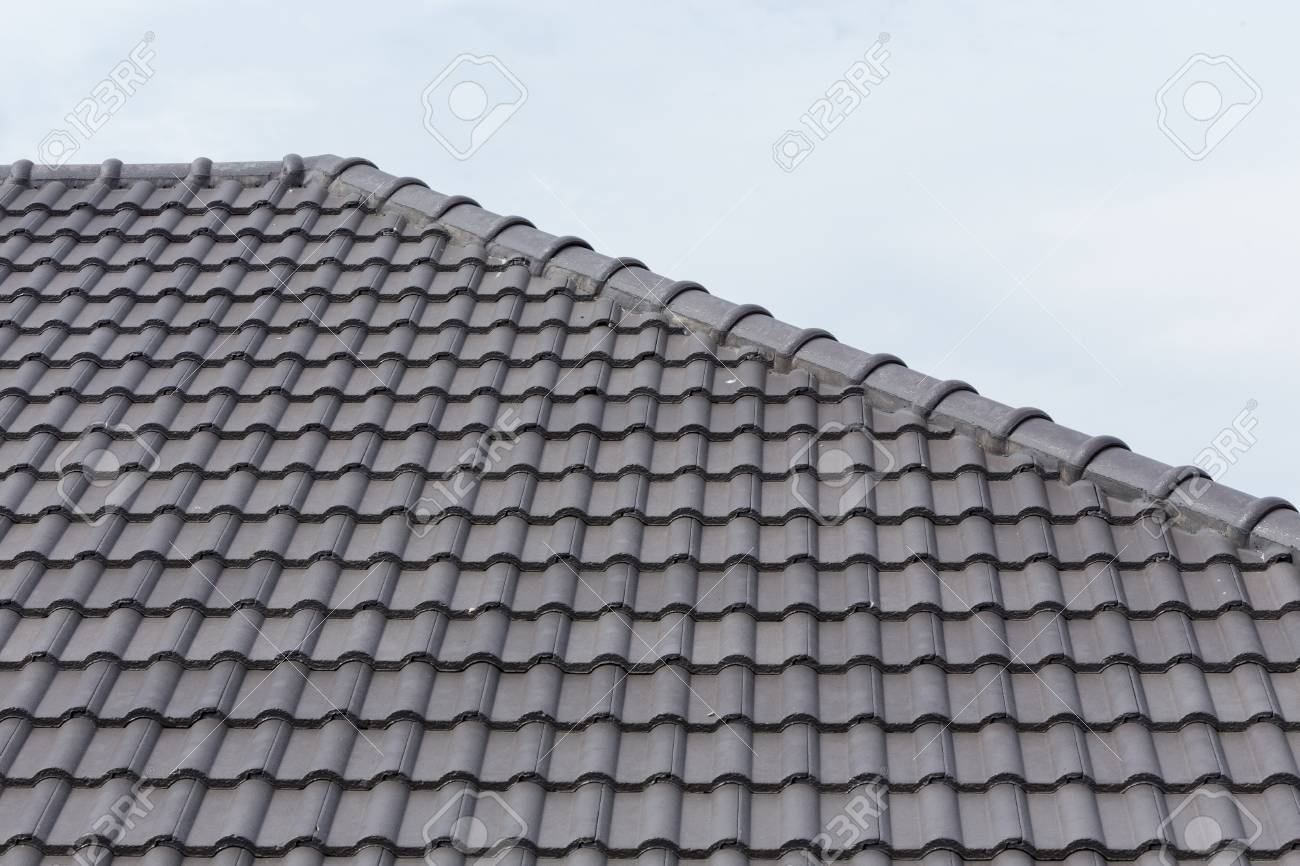 black tile roof on a new house