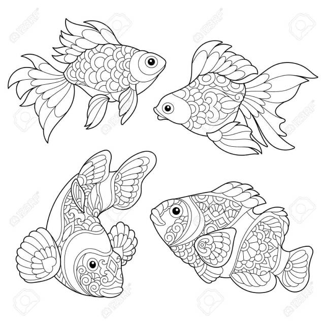 Coloring Page Of Goldfish And Clown Fish. Freehand Sketch Drawing