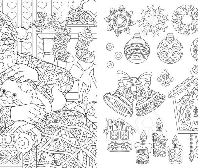 New Year Christmas Coloring Pages Coloring Book For Adults
