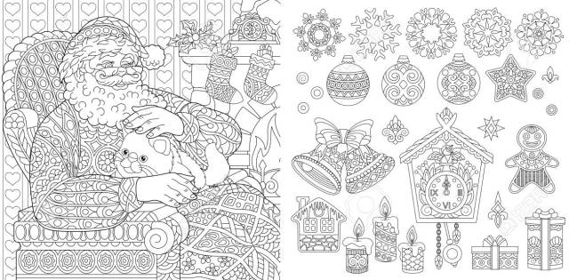 New Year. Christmas. Coloring Pages. Coloring Book For Adults