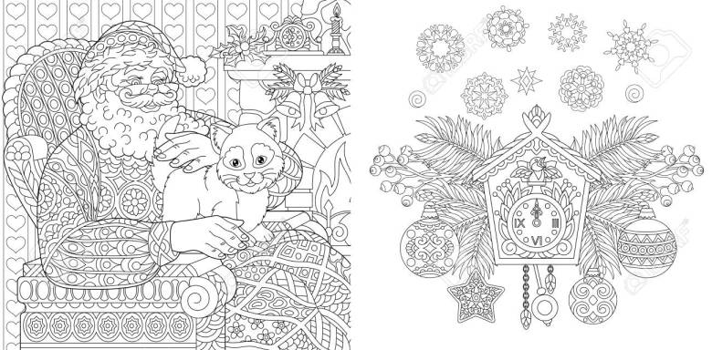 christmas coloring book. christmas colouring pages. santa claus