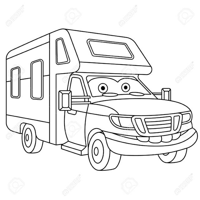 Coloring Page. Colouring Picture. Cute Cartoon House On Wheels. RV