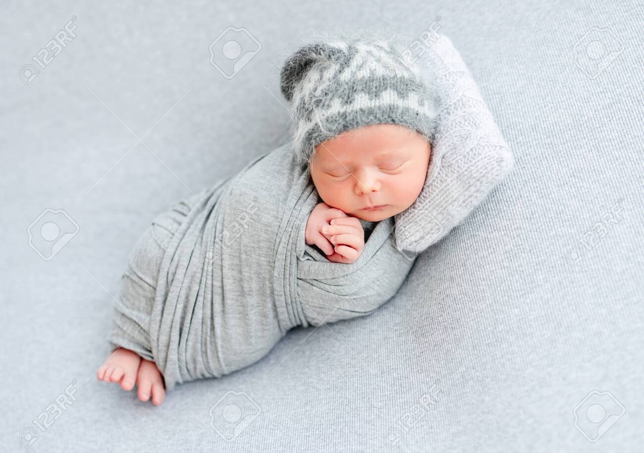 cute newborn sleeping on tiny pillow stock photo picture and royalty free image image 147753504