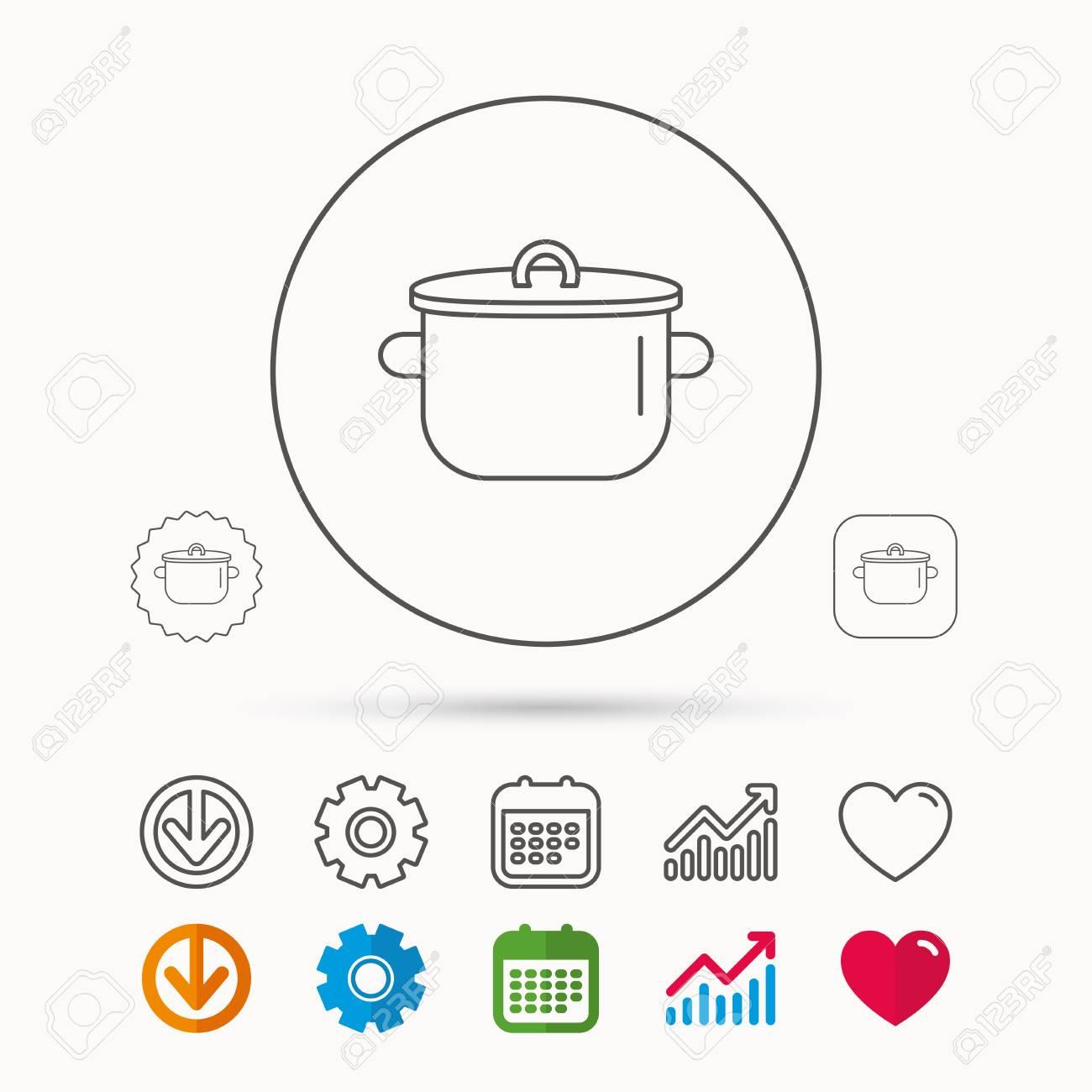 icone de panoramique plaque de cuisson symbole de l outil de cuisine calendrier diagramme graphique et signes de roue dentee telecharger et coeur