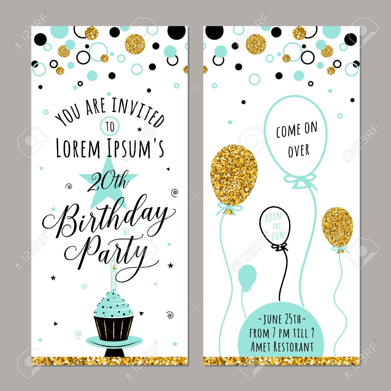 illustration de l invitation d anniversaire carte de joyeux anniversaire face et arriere l arriere plan de fete d anniversaire avec des etincelles
