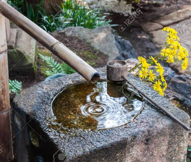 Stock Photo Traditional Japanese Bamboo Fountain