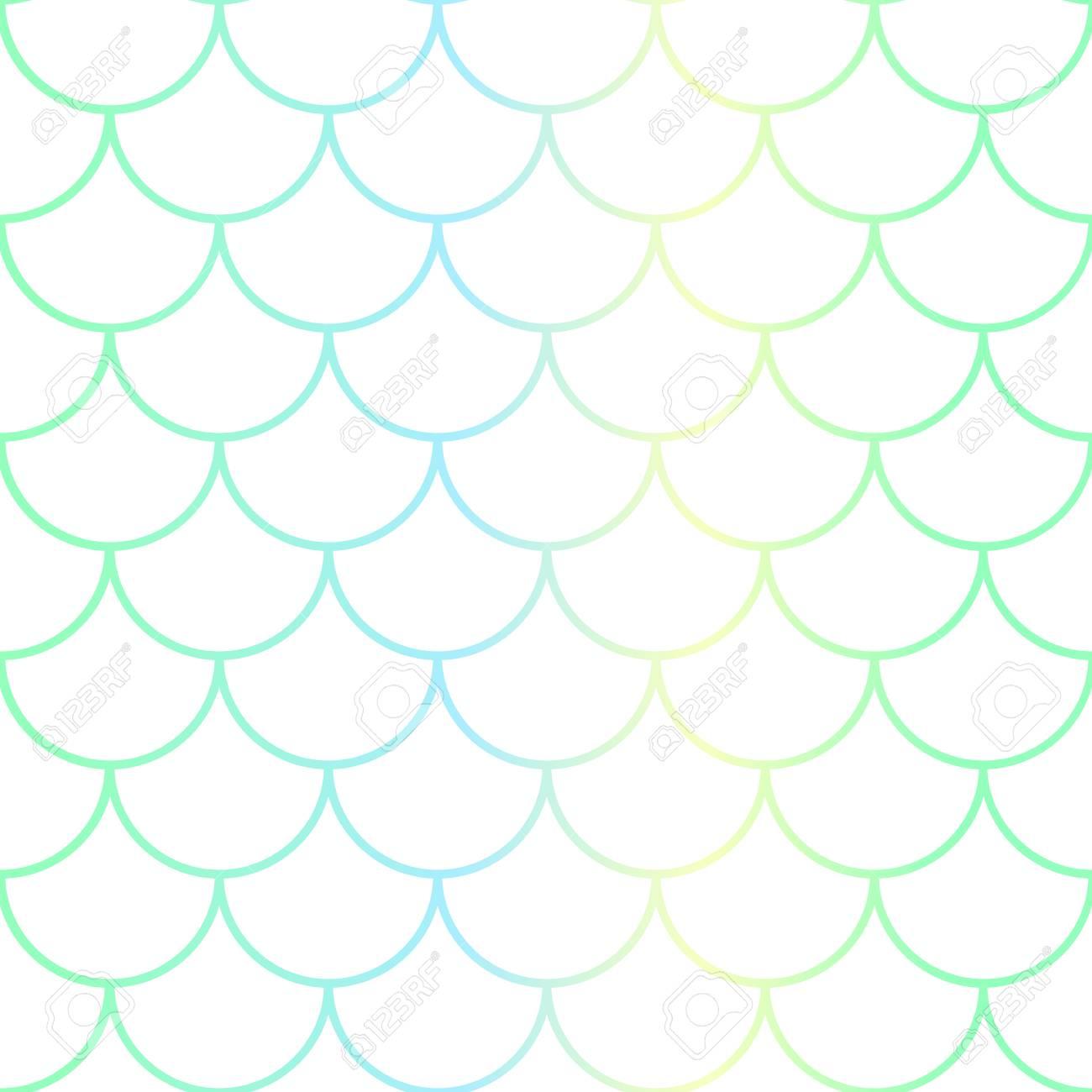 aqua blue fish scale seamless pattern colorful gradient net