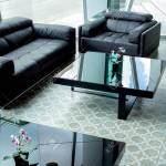 Modern Black Leather Sofa And Black Glass Table On Tile Flooring
