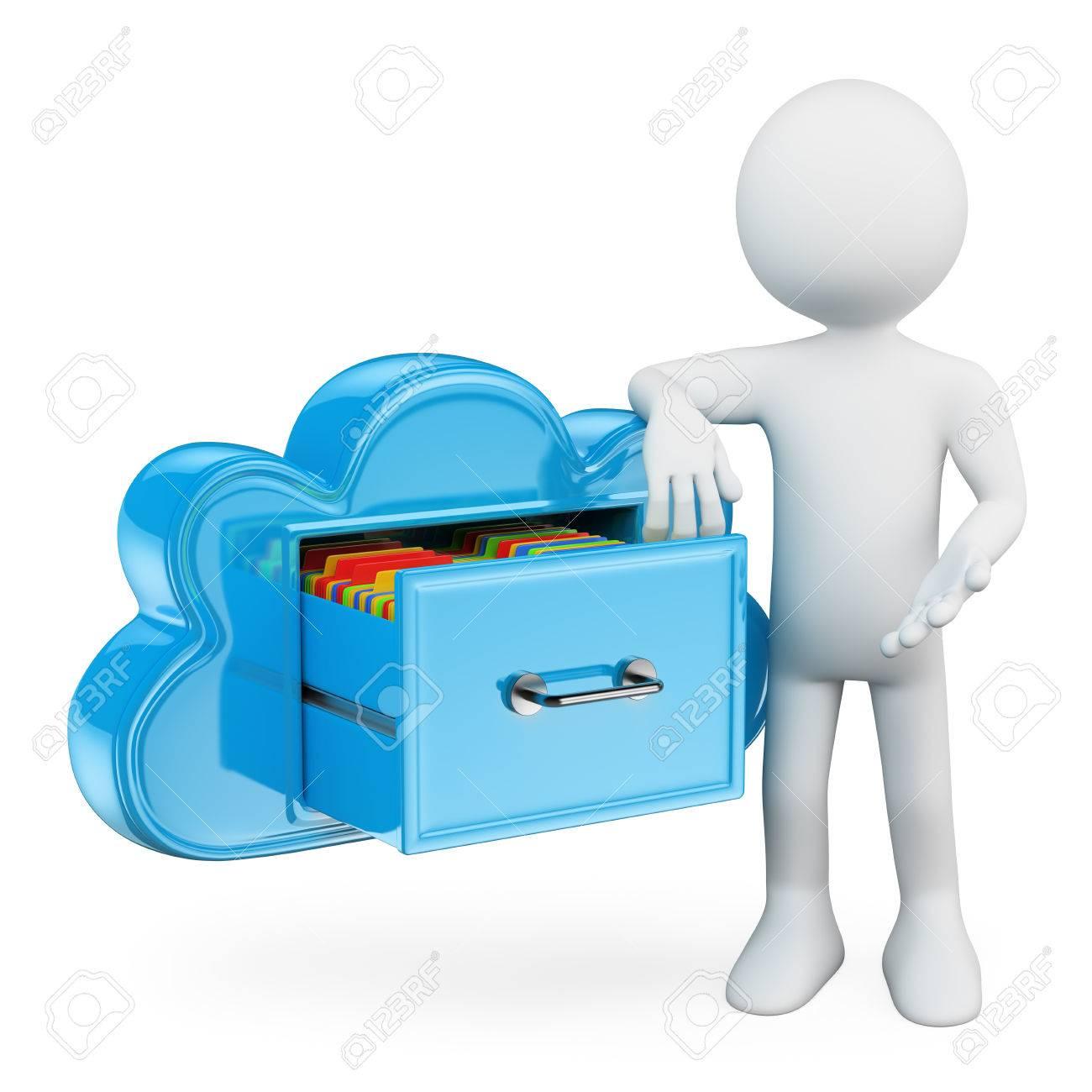 3d blancs services de stockage cloud garder des dossiers dans le nuage comme