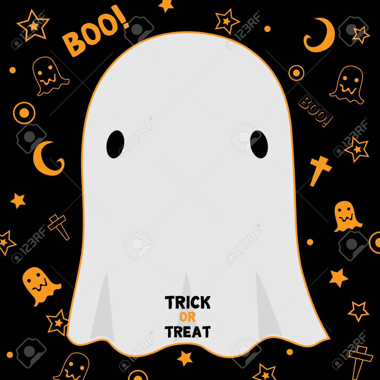 cute little ghost design for halloween holiday party invitation