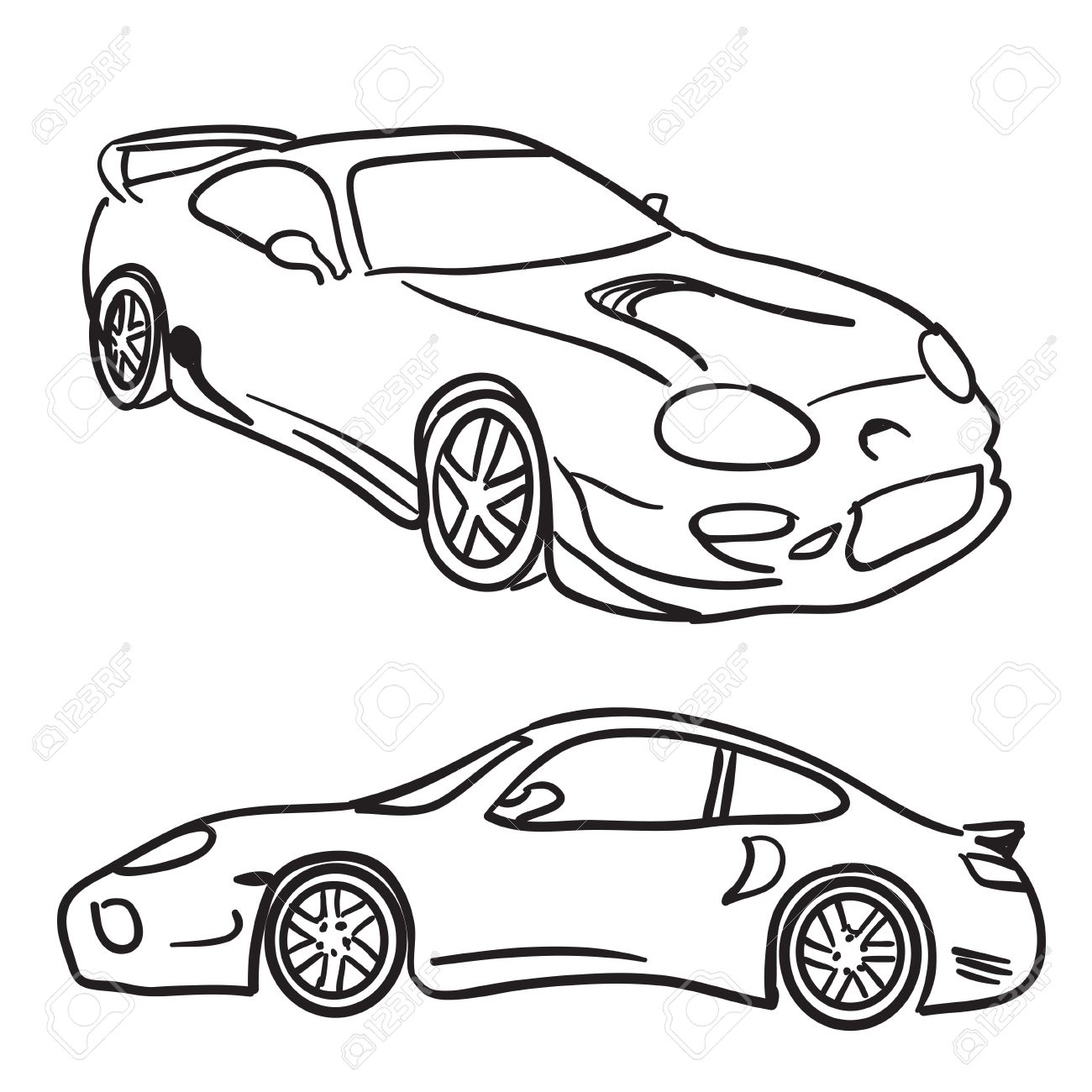 Clip art sports car drawings isolated over white in vector format paint them any color