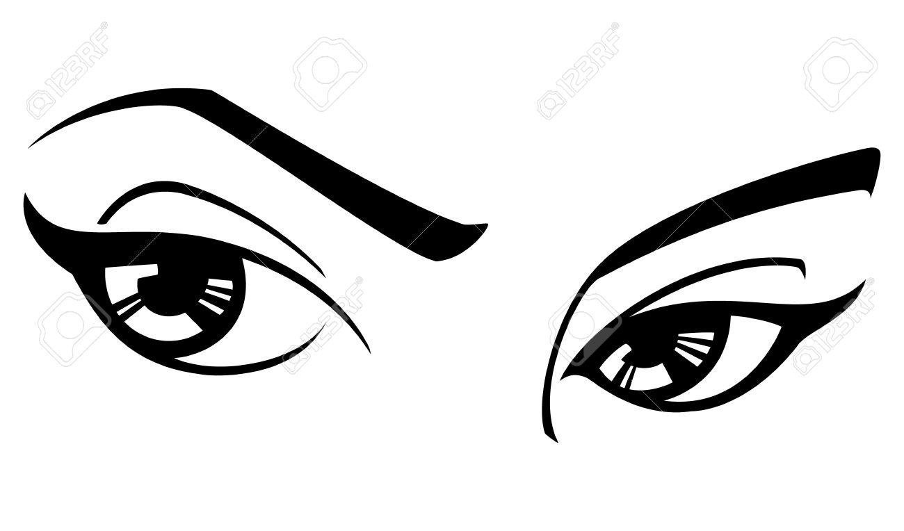 Black And White Illustration Of A Womans Eyes. Royalty Free