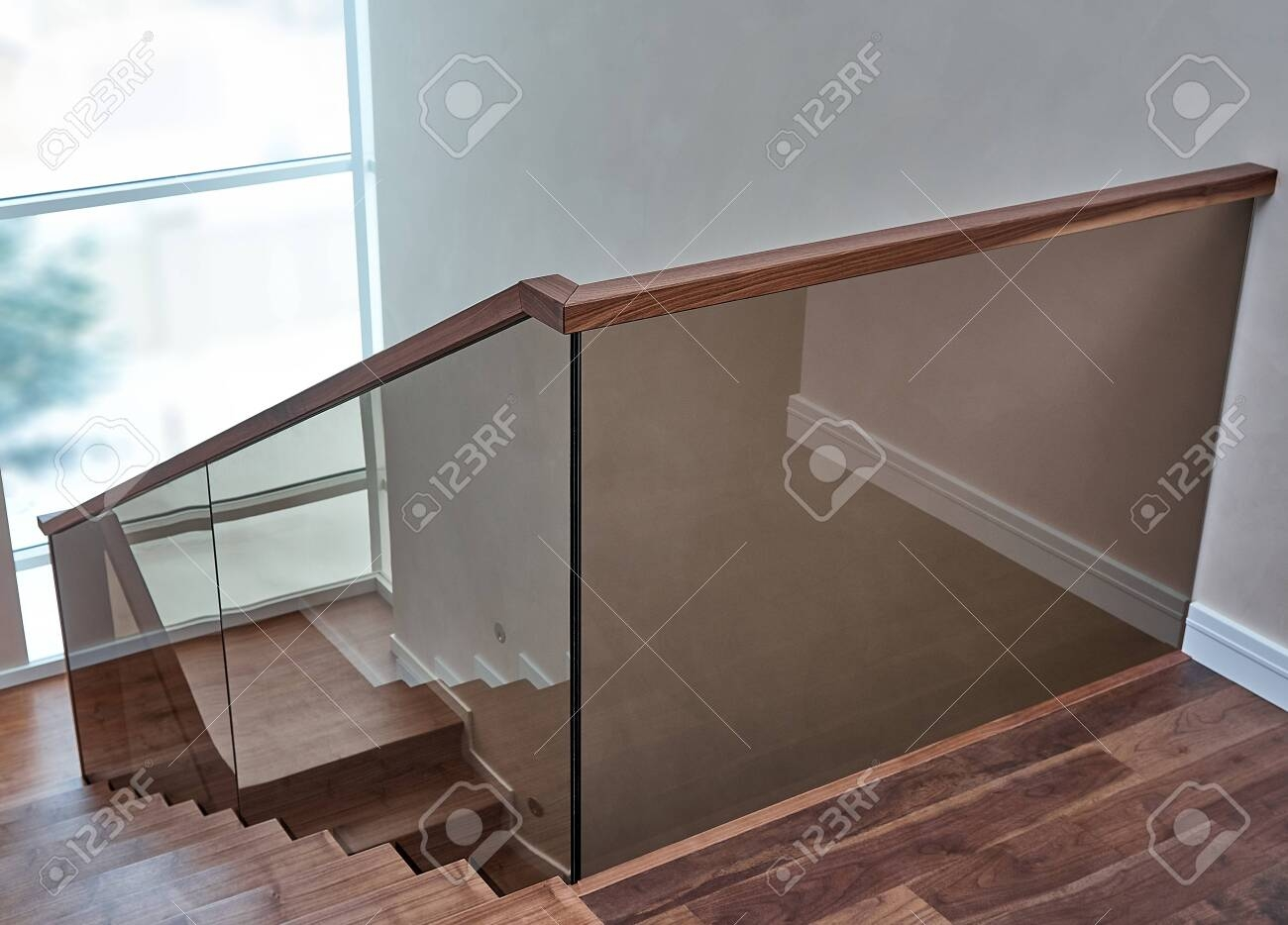 Beautiful Modern Glass Railing For Wooden Staircase With Wooden | Wooden Handrail With Glass | Oak | Square | Marble | Landing | Nautical Wood