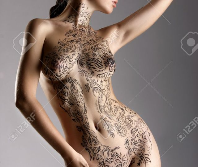 Beautiful Sexy Glamorous Girl With Drawings On The Body Painte Bodyart Stock Photo