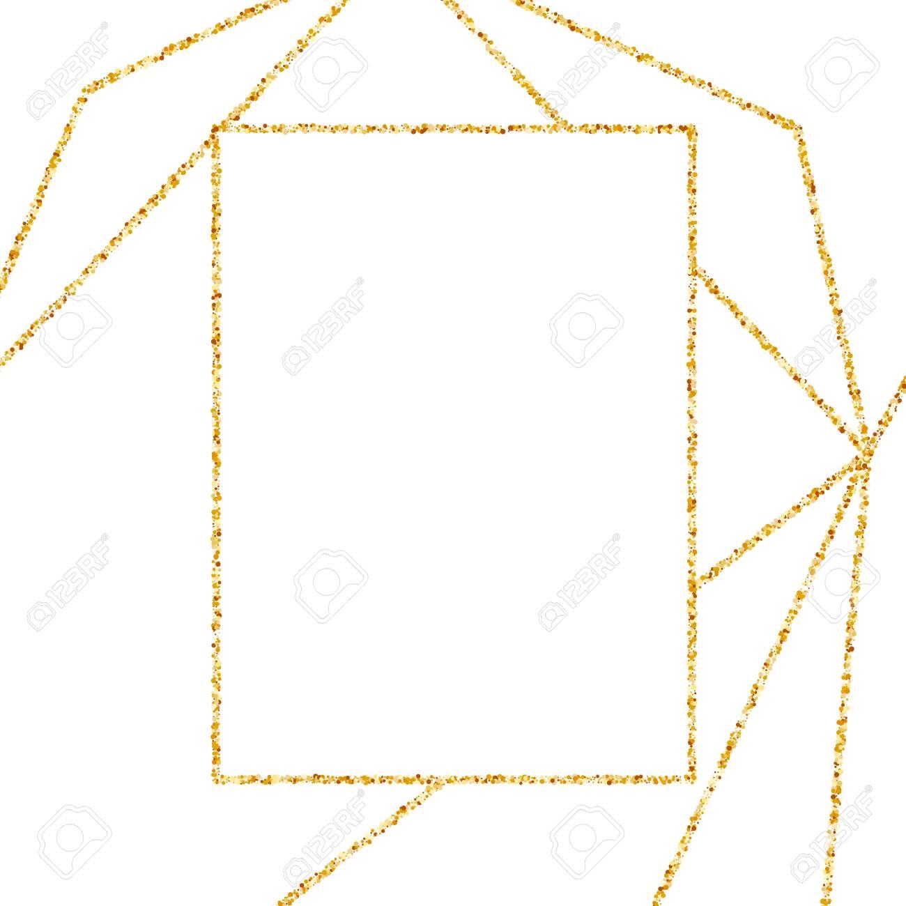 geometric gold frame for wedding or birthday invitation background