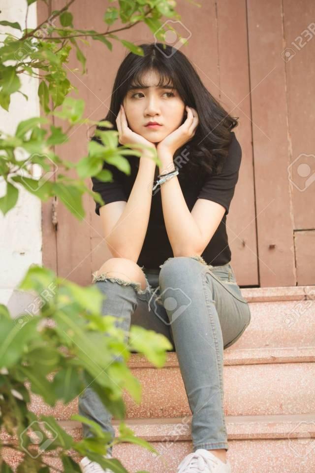 Portrait Of Vietnam High School Teen Beautiful Girl Happy In Vintage Style Stock Photo 75918488