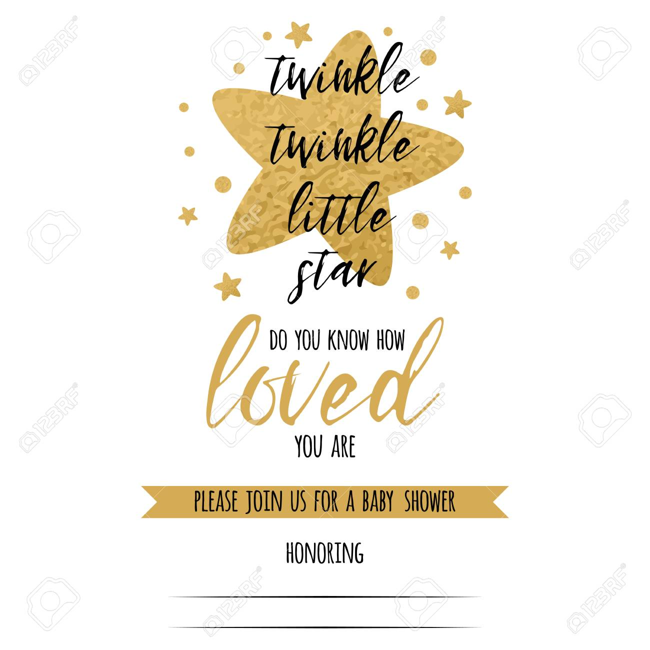 twinkle twinkle little star text with cute golden stars for girl