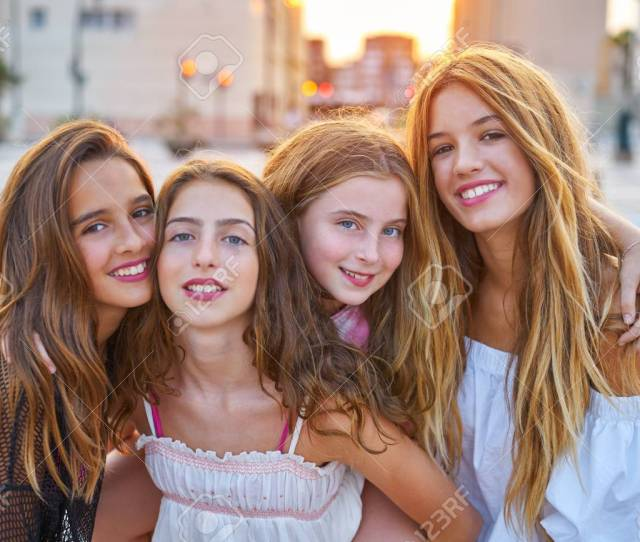 Best Friends Teen Girls At Sunset In The City Group Stock Photo 90844993