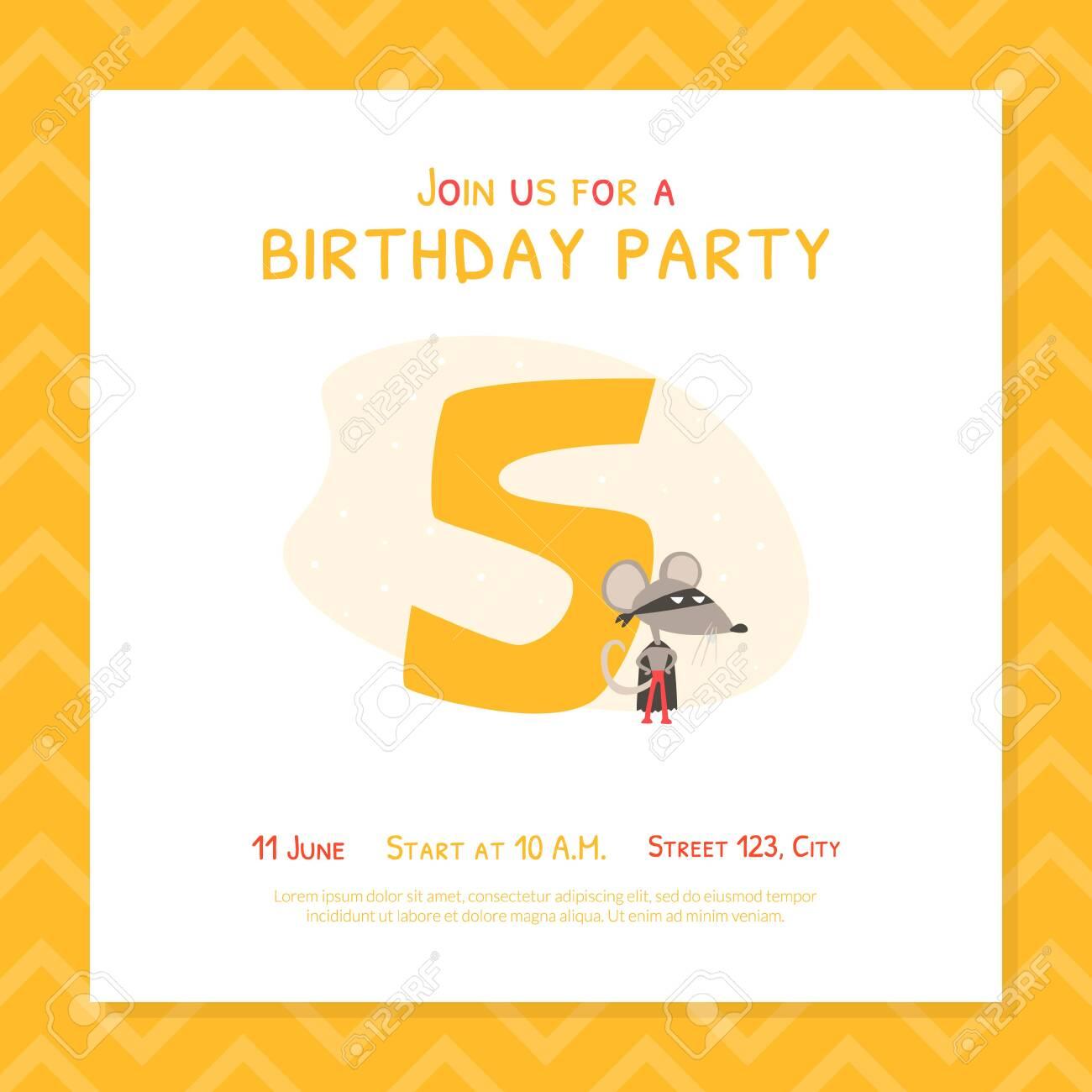 happy 5th birthday invitation card template birthday anniversary
