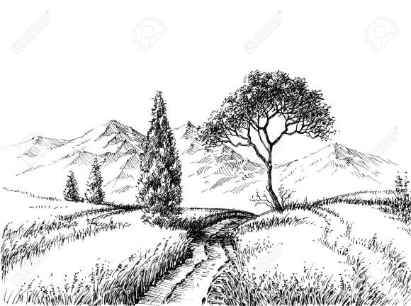 Field Landscape Pencil Drawing. A Trail To The Mountains Hand ...