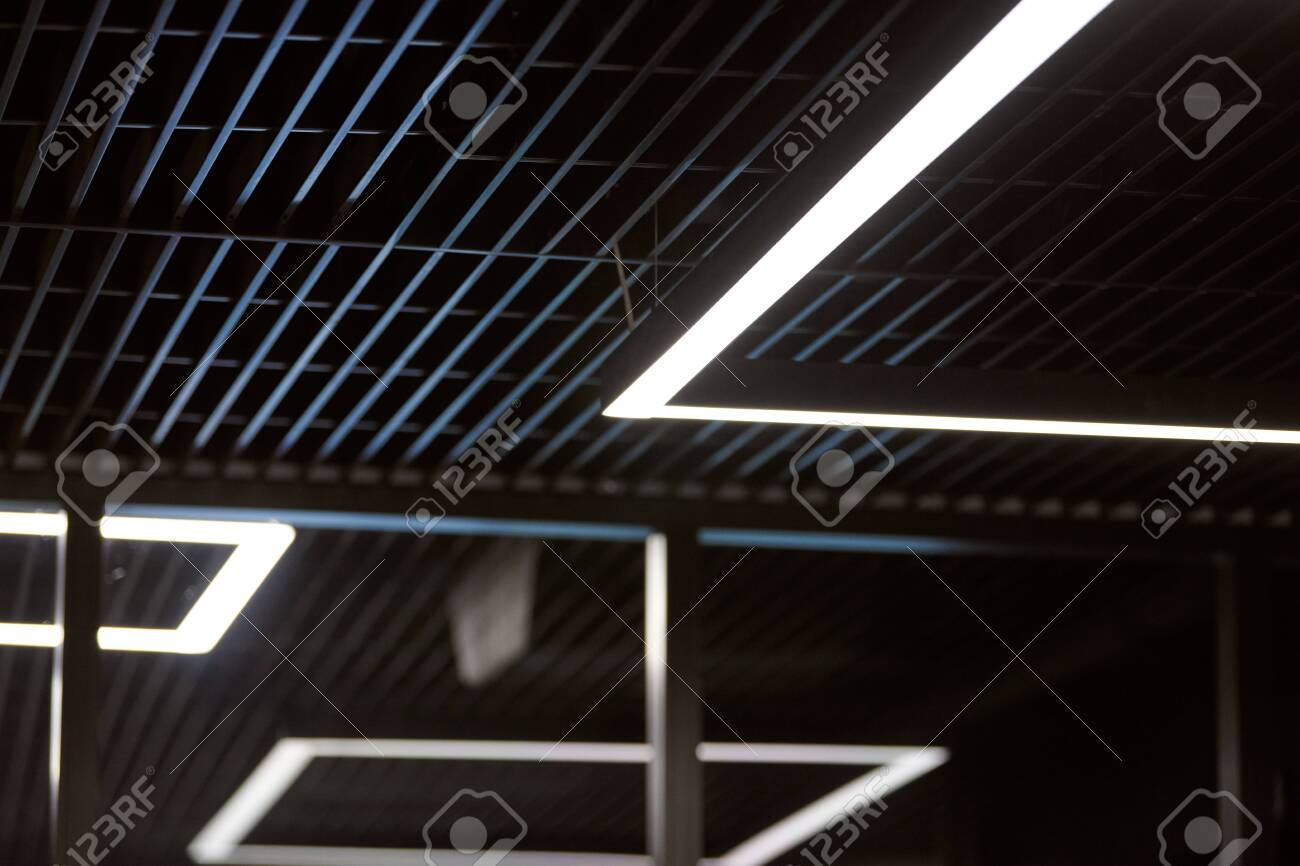 modern office lighting thin lamps in office dark ceiling led stock photo picture and royalty free image image 132680307