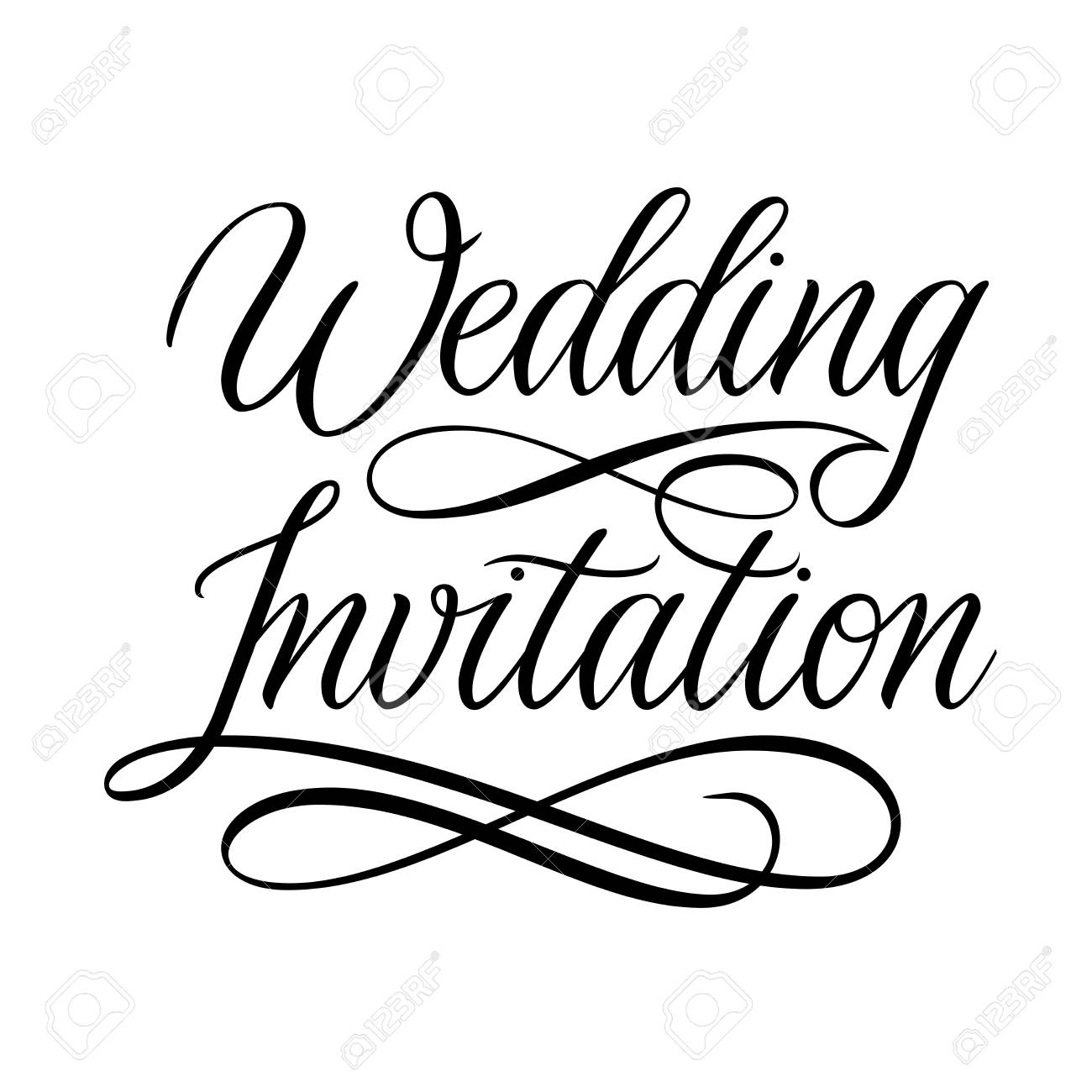 wedding invitation card design hand written calligraphy flourish