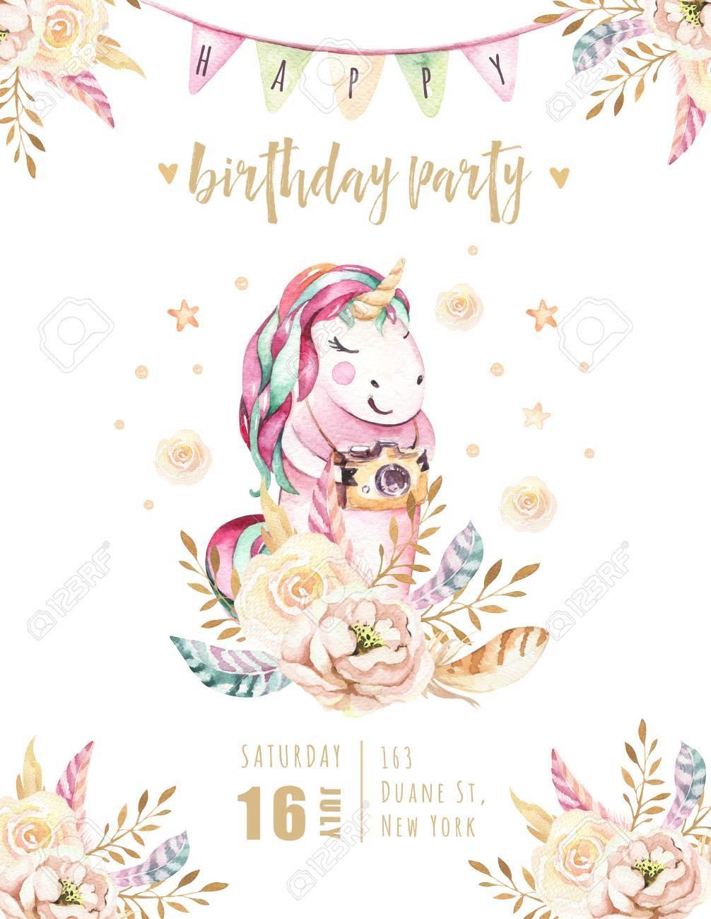 carte d invitation isole licorne aquarelle mignonne illustration de licornes pepiniere affiche de licornes de princesse arc en ciel cheval de