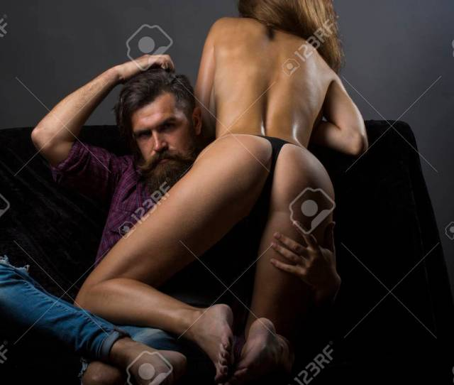 Stock Photo Woman Nude In Lingerie Dominate Bearded Man On Top Bdsm Sensual Couple In Love In Sexy Pose Erotic Games Sex Games Bdsm Erotica Desire