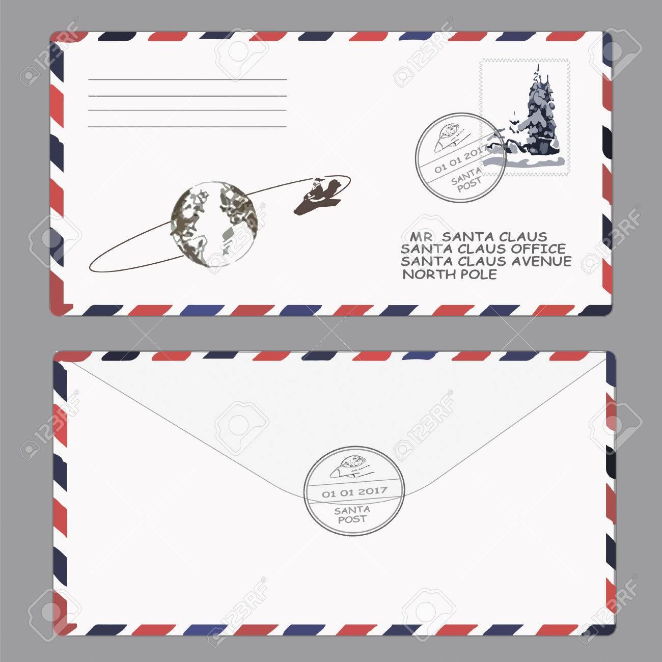 Noël Nouvelle Année Lettre Au Père Noël Timbre Enveloppe Modèle