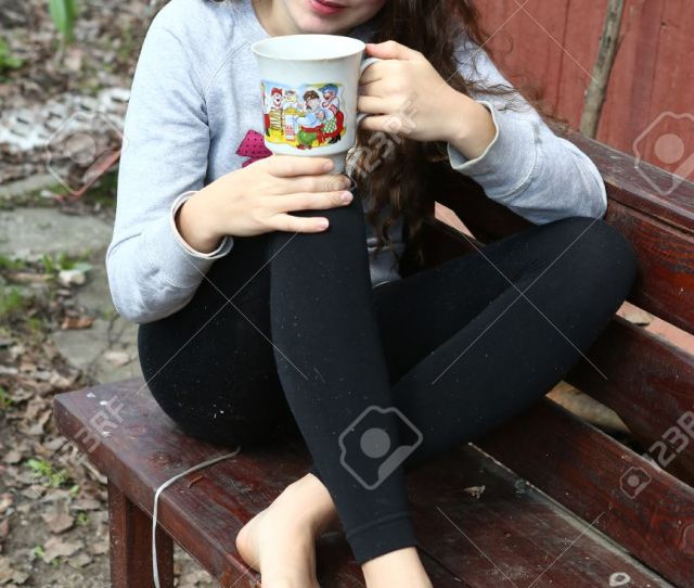 Stock Photo Teen Pretty Girl With Long Curly Brown Thick Hair Closeup Portriat