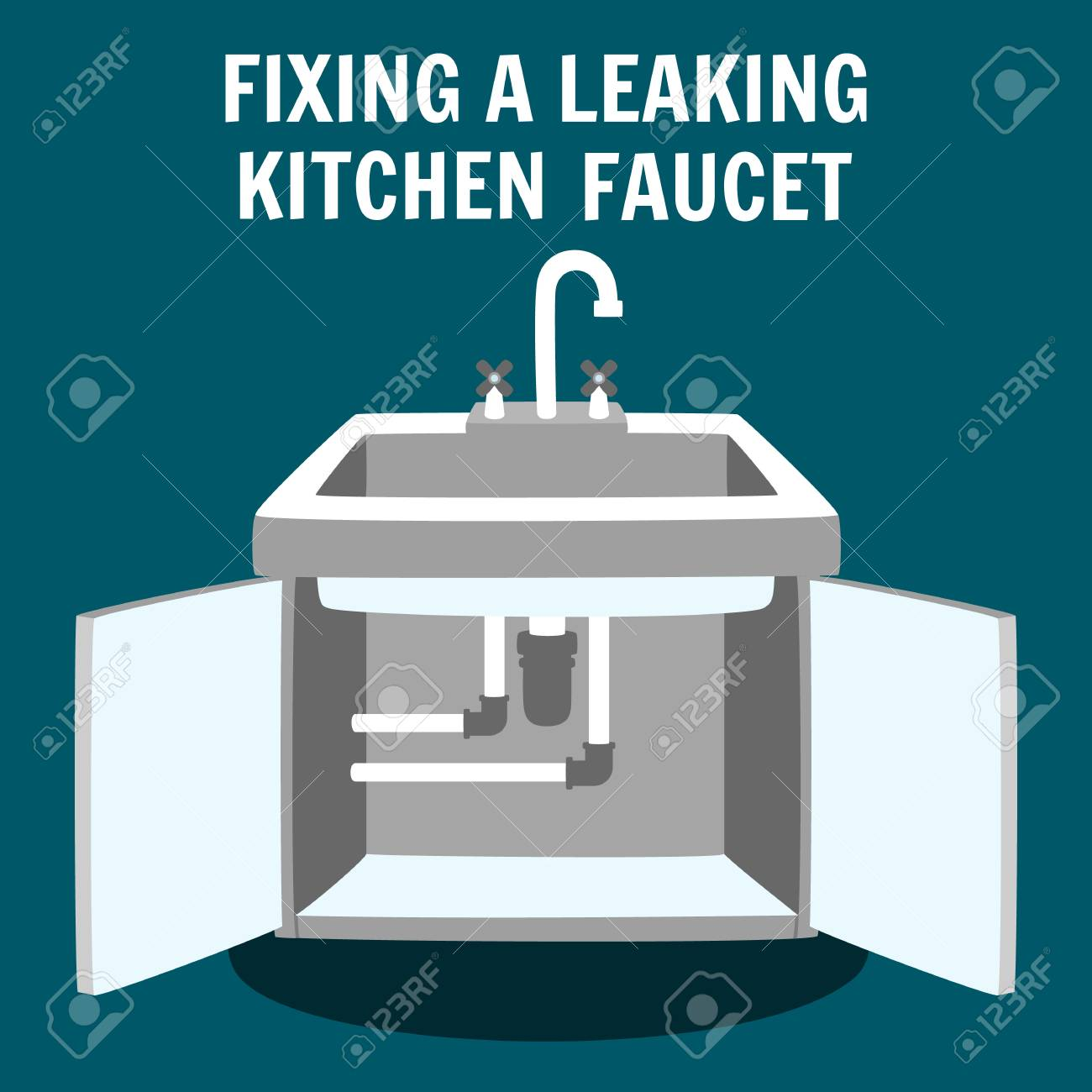 fixing leaking kitchen faucet banner professional plumbing service