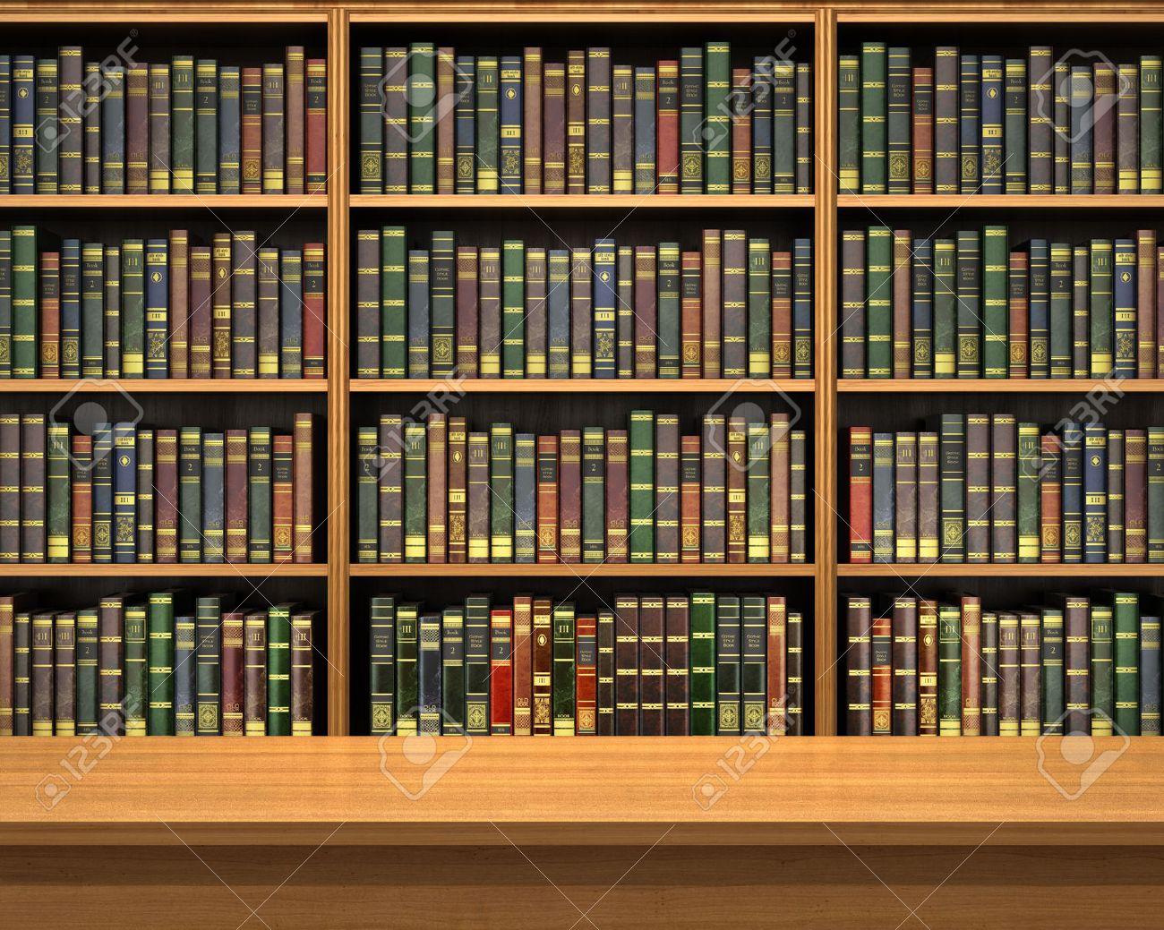 table sur fond d etagere pleine de livres old bibliotheque