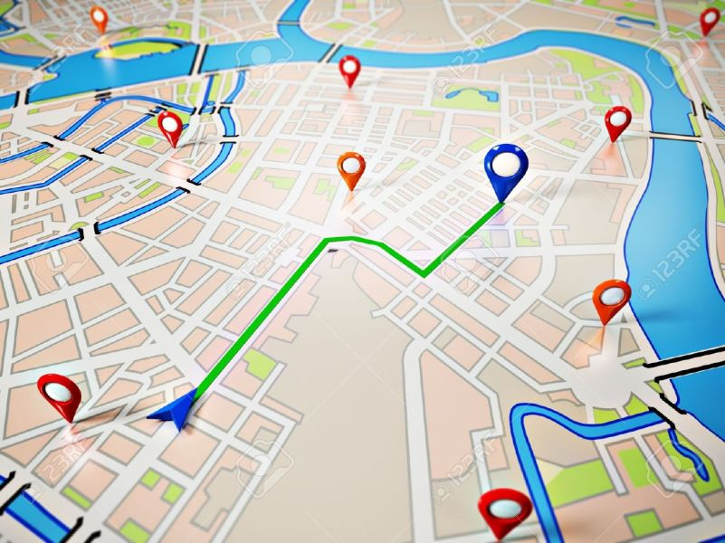 Street Map With GPS Icons Navigation Stock Photo  Picture And     Stock Photo   Street Map with GPS Icons Navigation