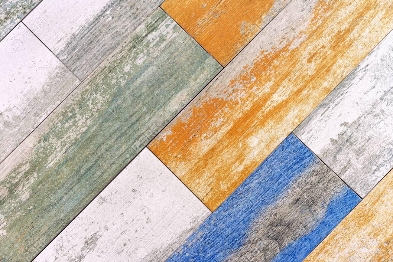 porcelain tile with imitation of multi colored wooden boards