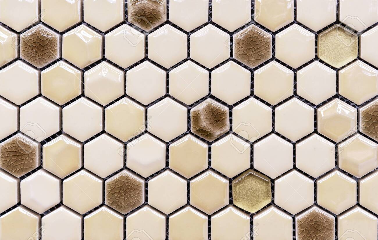 ceramic mosaic tiles in the form of honeycombs hexagonal tiles