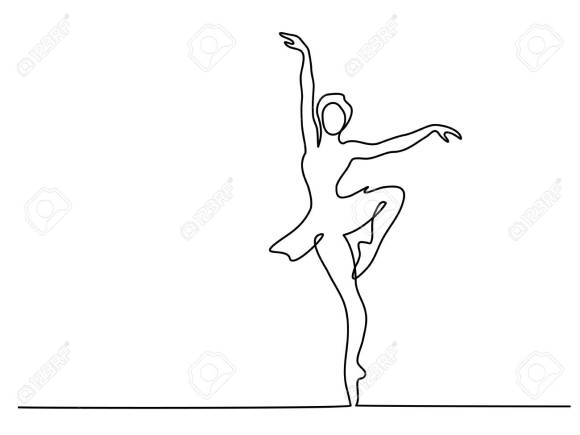 Continuous Line Art Drawing. Ballet Dancer Ballerina. Vector ...