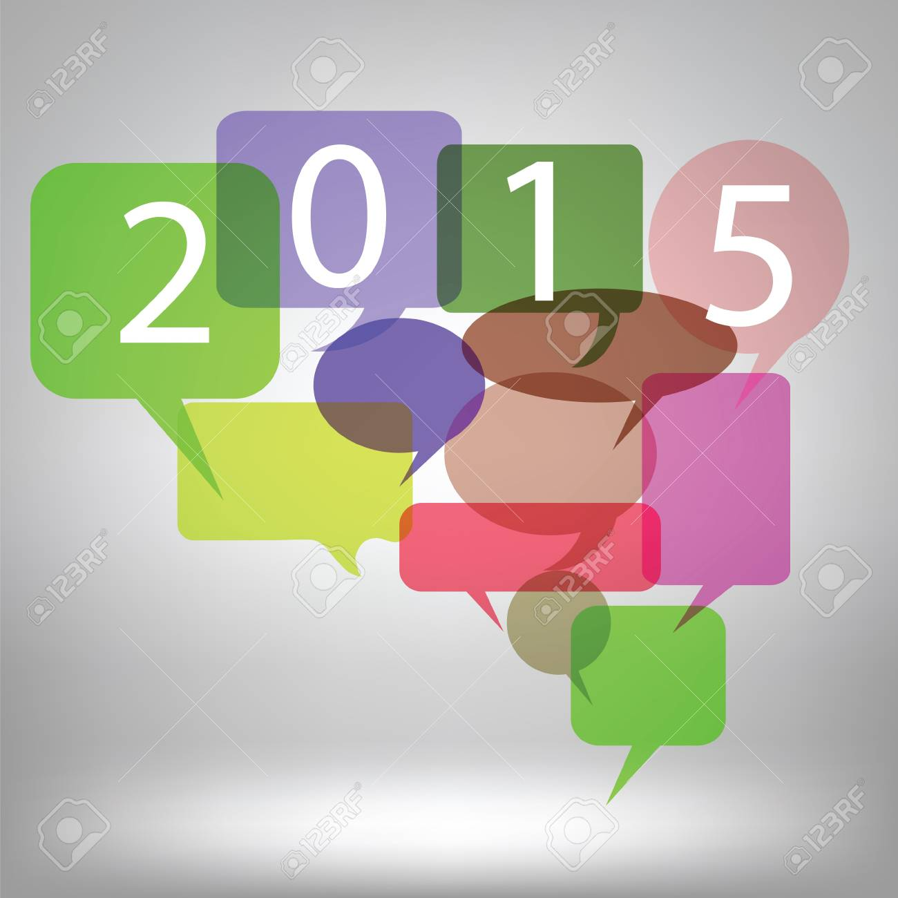 Colorful Illustration With New Year Speech Bubbles Background     colorful illustration with new year speech bubbles background on grey  background Stock Illustration   34539805