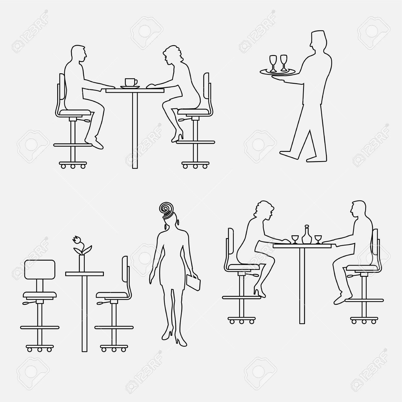 ensemble architectural de meubles avec des personnes assis homme femme vue de face elements d interieur pour restaurant bar cafe locaux icones