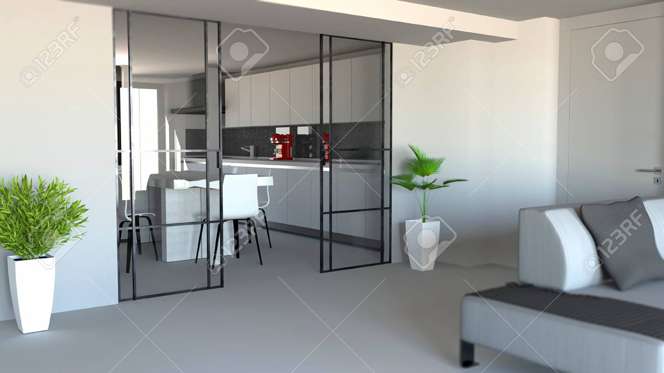 Sliding Door Living Room And Kitchen Partition Modern Apartment